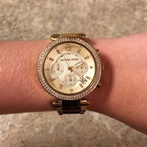 Michael Kors gold/brown marble watch